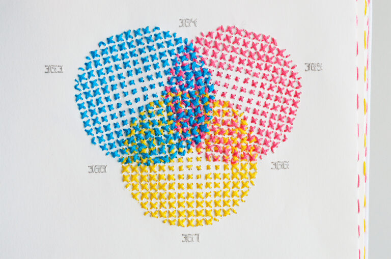 A Massive Catalogue of Stitched CMYK Studies by Evelin Kasikov Merges Printing and Embroidery
