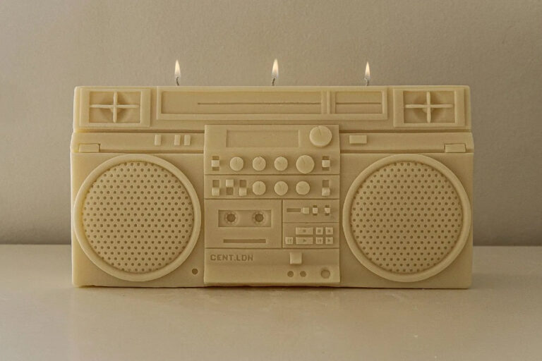 A Retro Boombox Candle by Cent LDN Recreates a Hip-Hop Classic in Creamy Wax