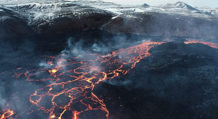 Stranded: Striking Aerial Footage Flies Over Iceland's Fagradalsfjall Volcano as It Erupts