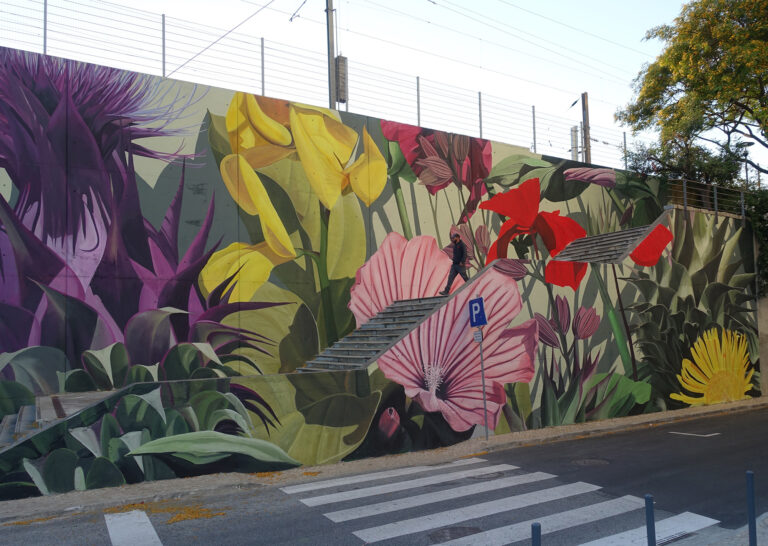Lush Tropical Plants Sprout from Brightly Colored Murals by Thiago Mazza