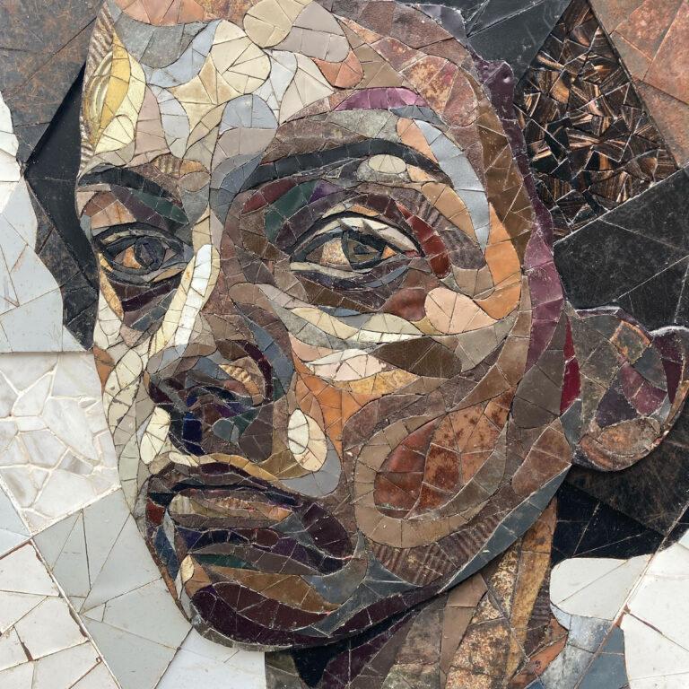 Expressive Portraits Made as Scrap-Metal Mosaics Question Societal Notions of Value