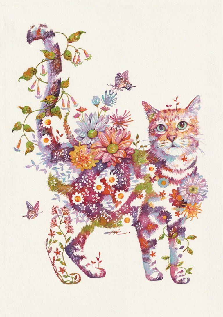 Vivid Botanicals Bloom from the Coats of Charismatic Cats in Watercolor Works by Hiroki Takeda