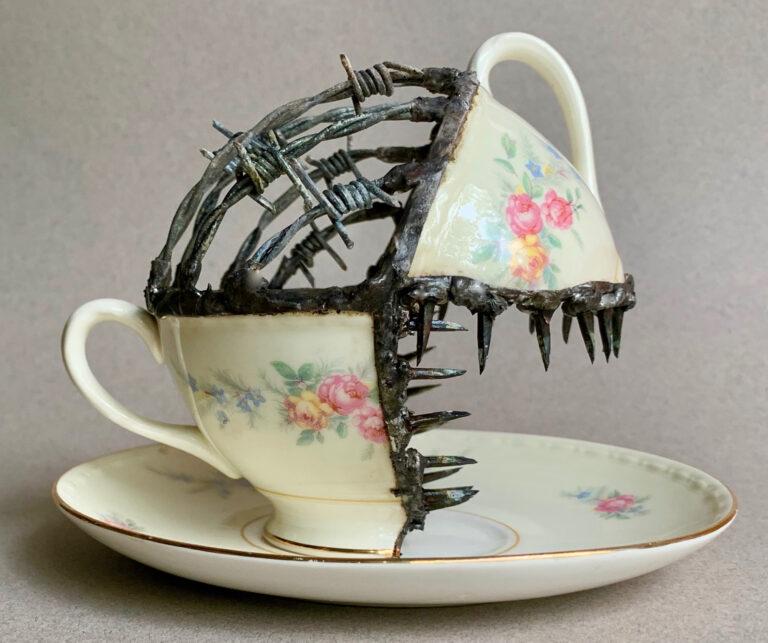 Unruly Metals and Barbs Repair Broken Porcelain Dinnerware by Glen Taylor